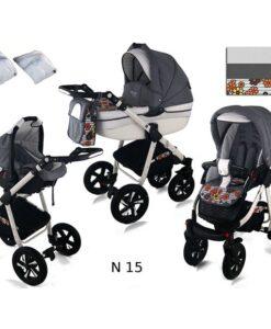 Kinderwagen 3 in 1 Nexxo TwoTone Flowah Grey productafbeelding